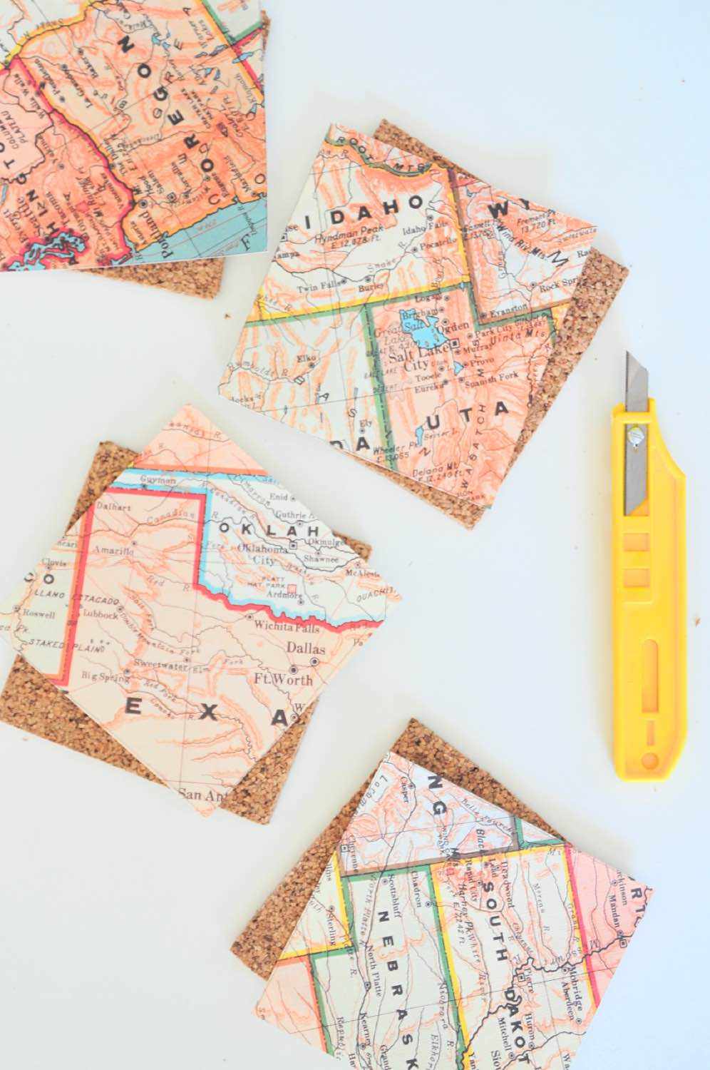 diy map coasters craft tutorial pop shop america