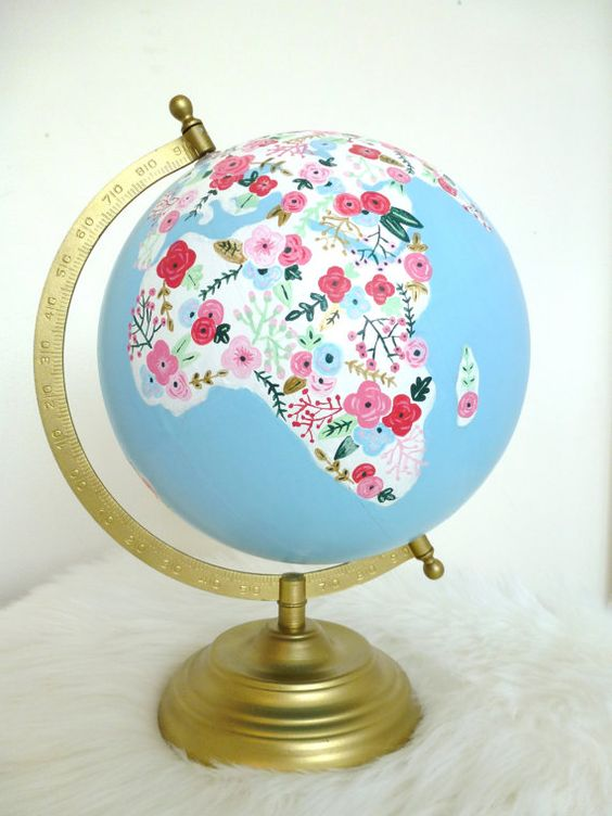 fields of flowers hand painted globe