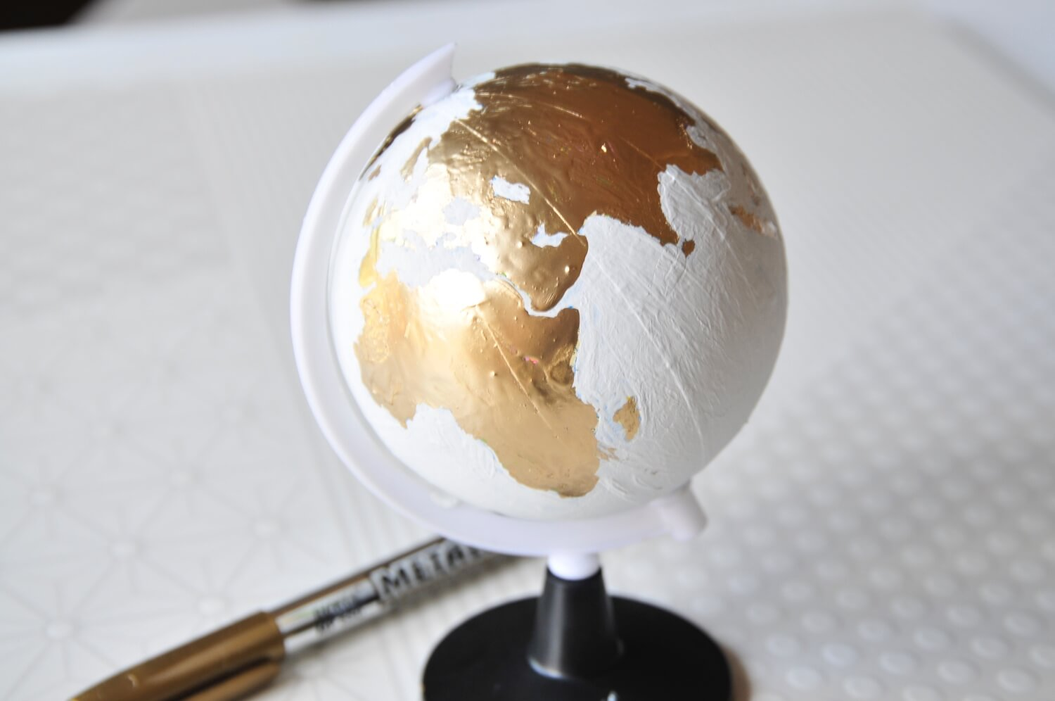 finished chalkboard painted globe craft tutorial - subscription box