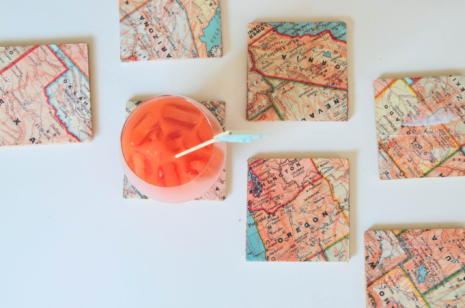 finished map coasters handmade diy pop shop america