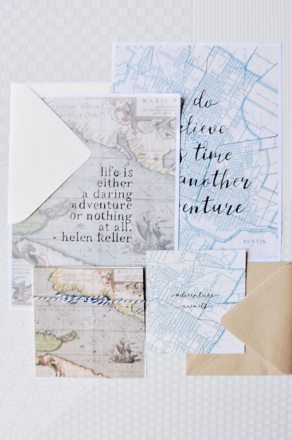 finished set of diy map stationery set pop shop america