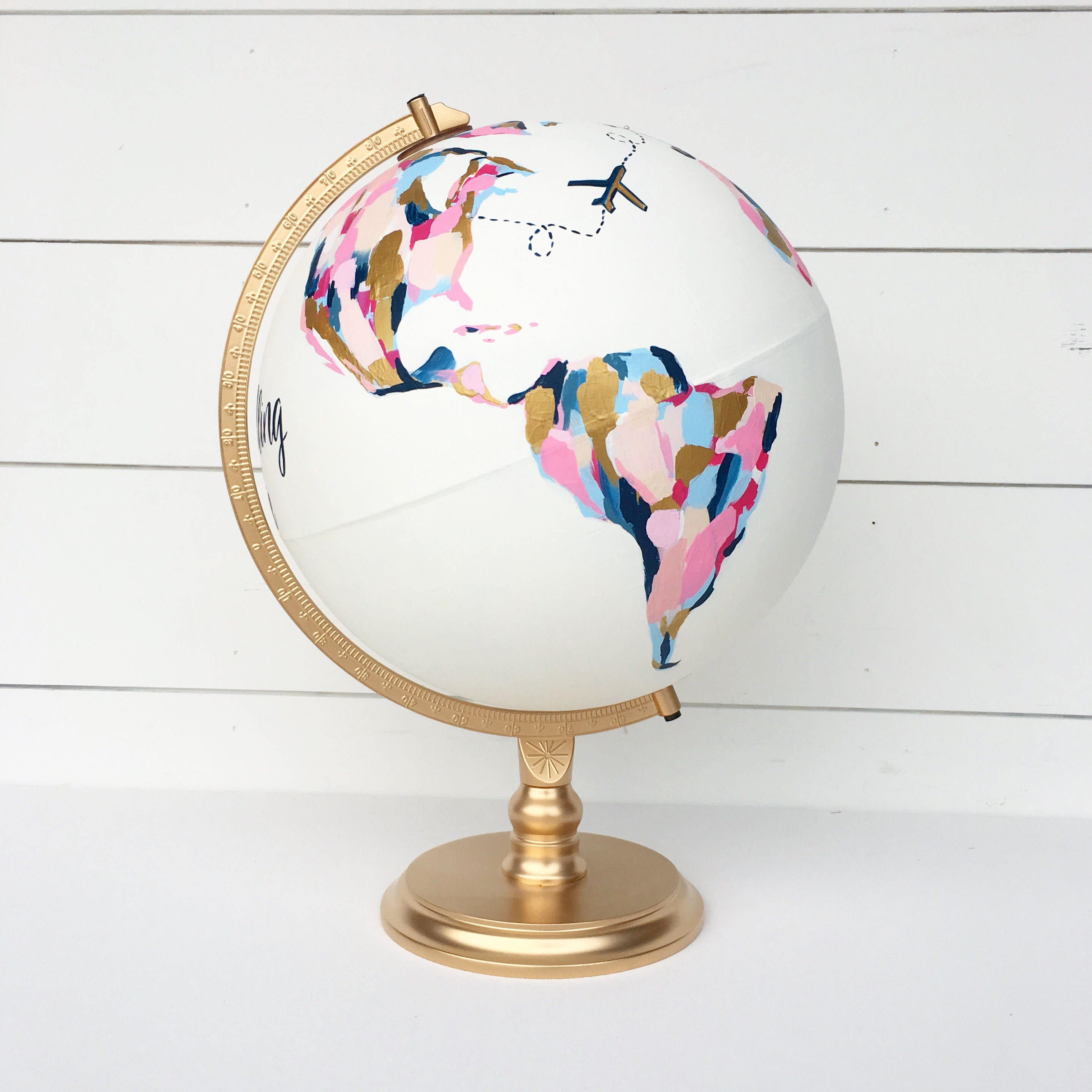 gold pink blue hand painted globe by newly scripted etsy