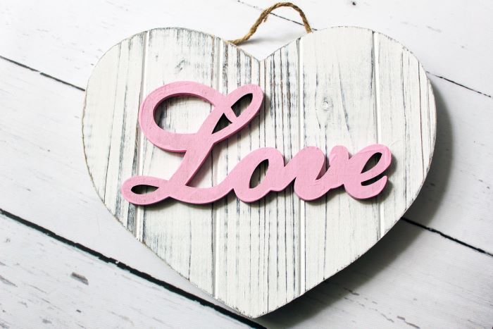 love painted rustic white heart 2