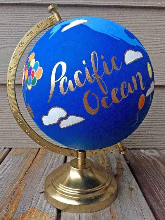 pacific ocean hand painted globe etsy