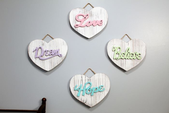 rustic wooden heart decor on wall 2