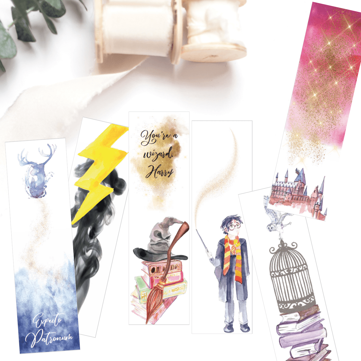 Harry-Potter-Watercolor-Printable-Bookmarks