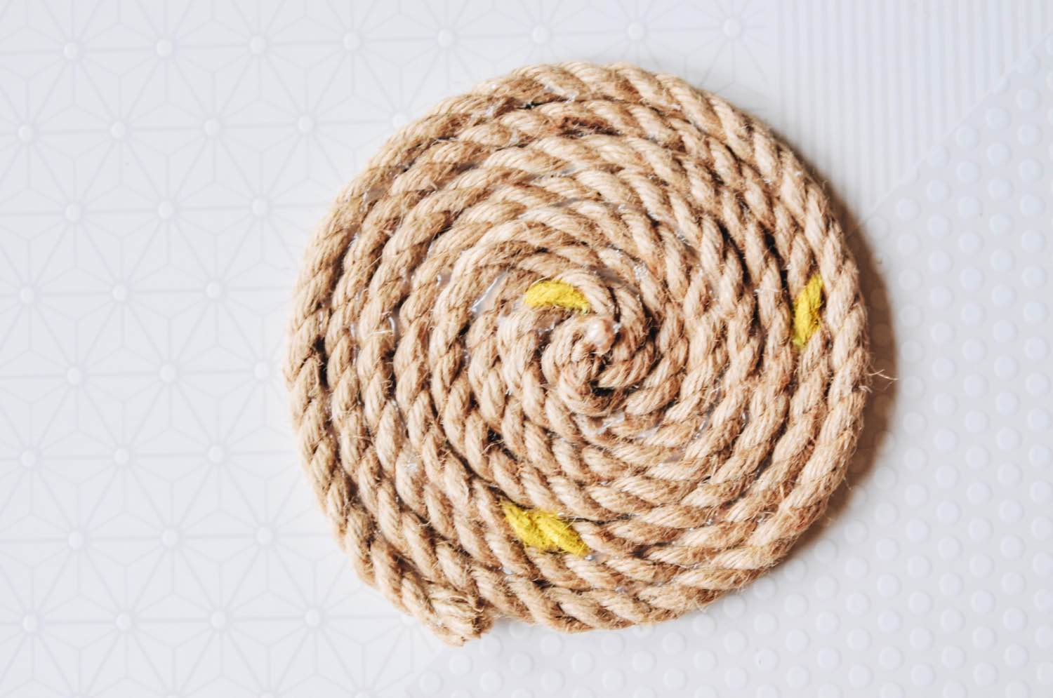 add yellow paint to the diy rope trivet pop shop america