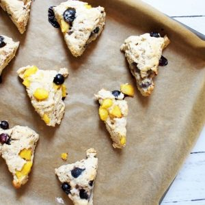 baked-peach-blueberry-scones-on-baking-sheet_square