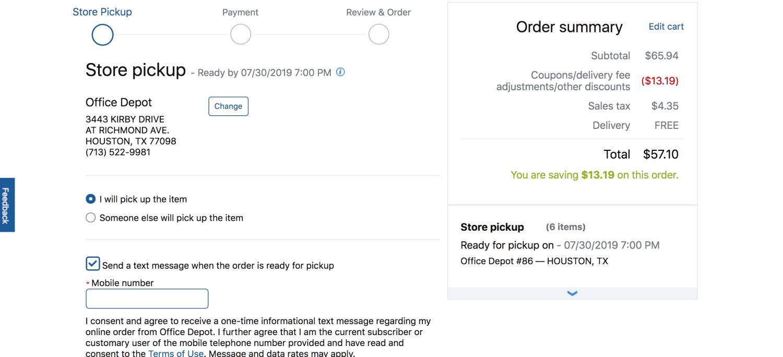 checkout screen when ordering office depot online pop shop america