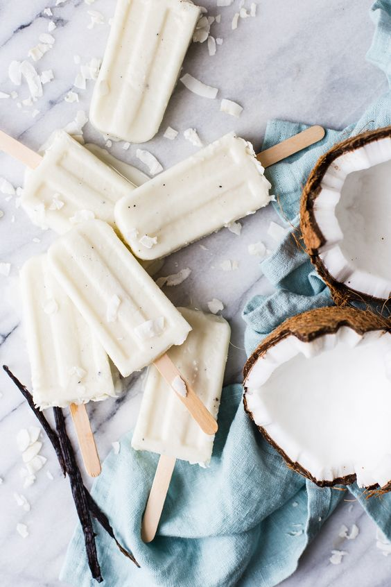 coconut cream and vanilla bean popsicles
