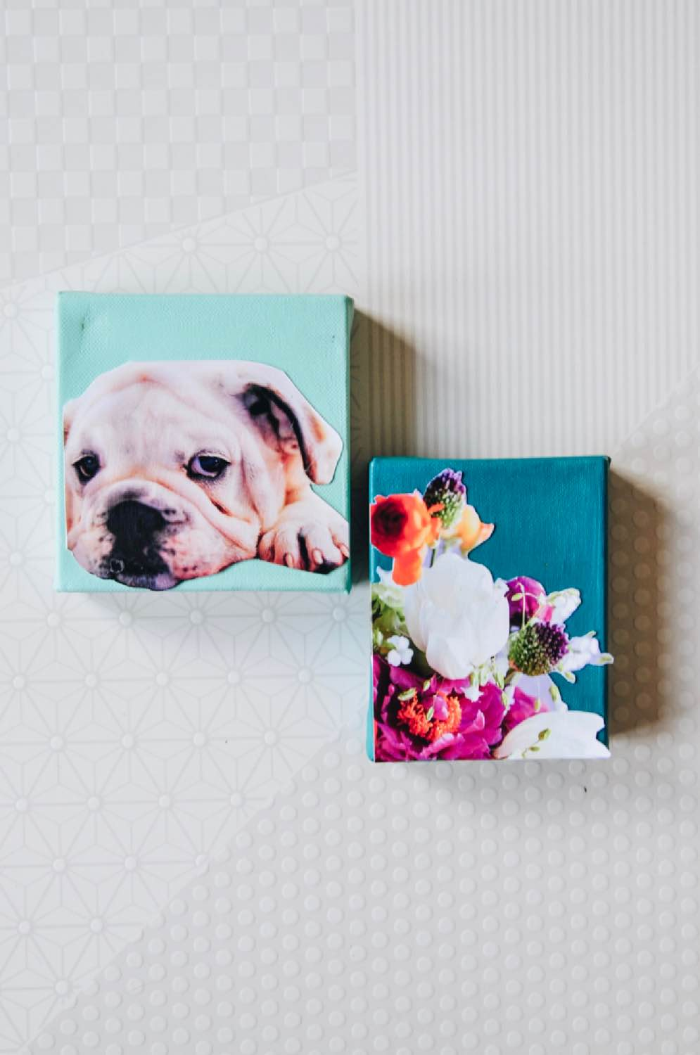 how to make nursery art collage with puppies and flowers