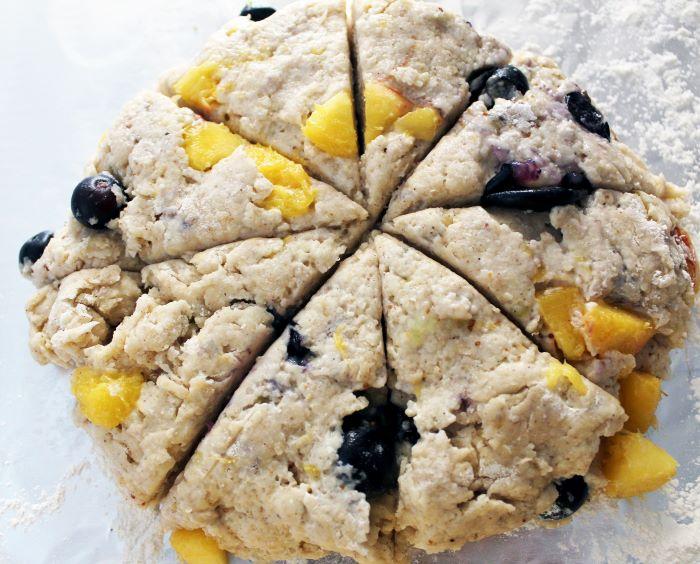 peach blueberry scones dough fully cut