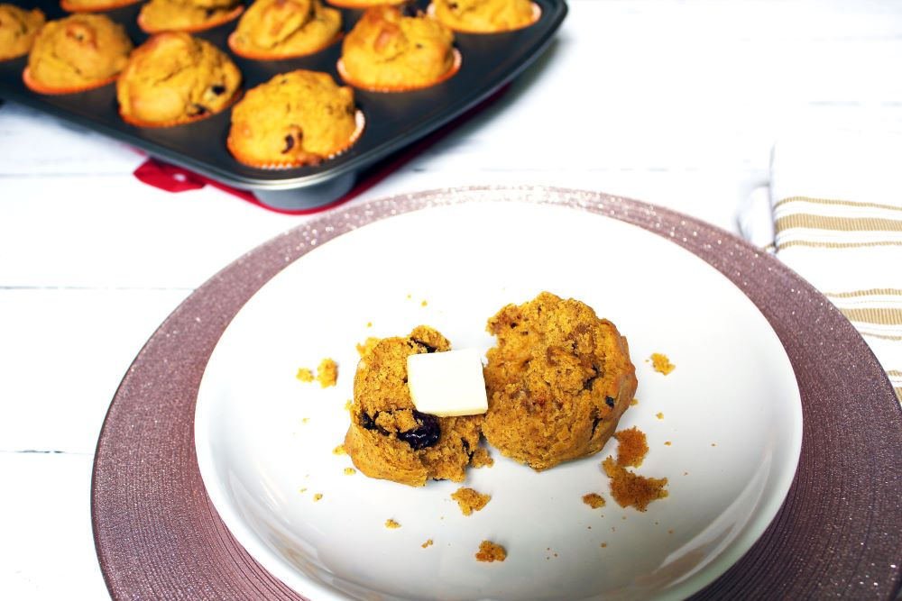 plated pumpkin cranberry walnut muffin
