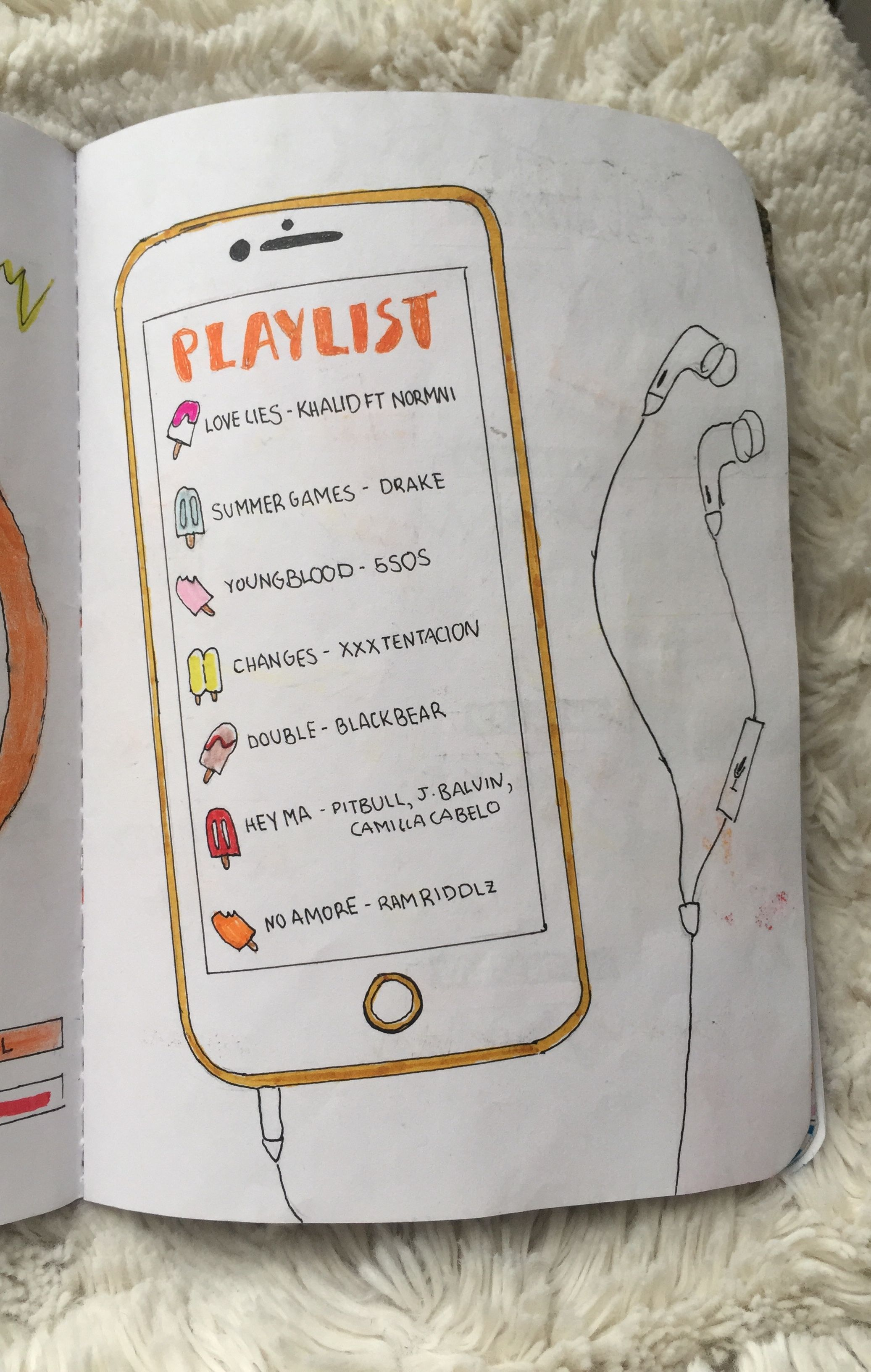 playlist drawing doodle for a journal pop shop america
