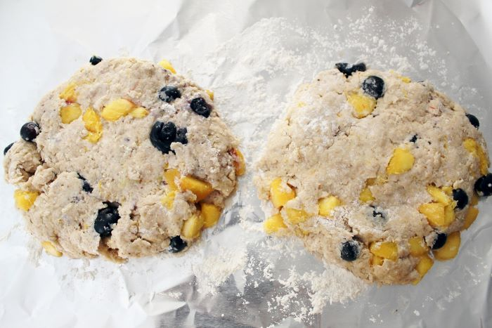blueberry peach scone dough shaped into rounds