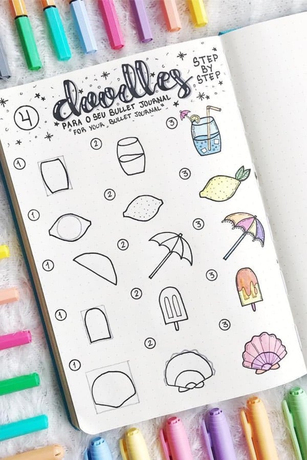 summer-doodles for a journal pop shop america