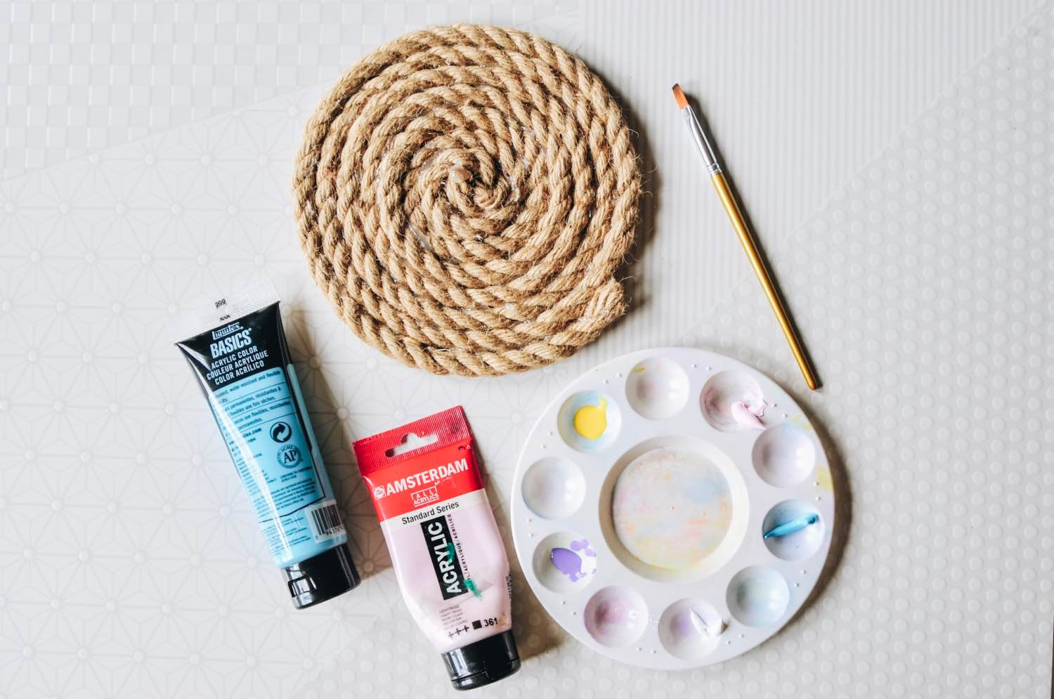 use a small amount of acrylic paint diy rope trivet pop shop america