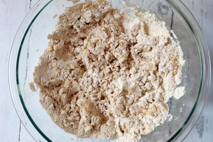 wet ingredients mixed into dry ingredients