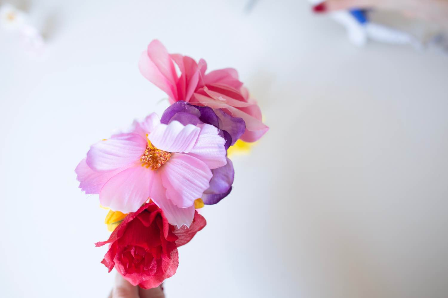 a rainbow of flowers diy headband flower crown