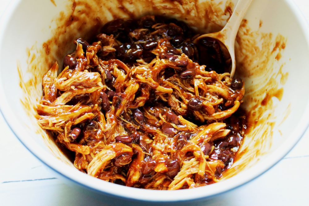 bbq shredded chicken for black bean poutine