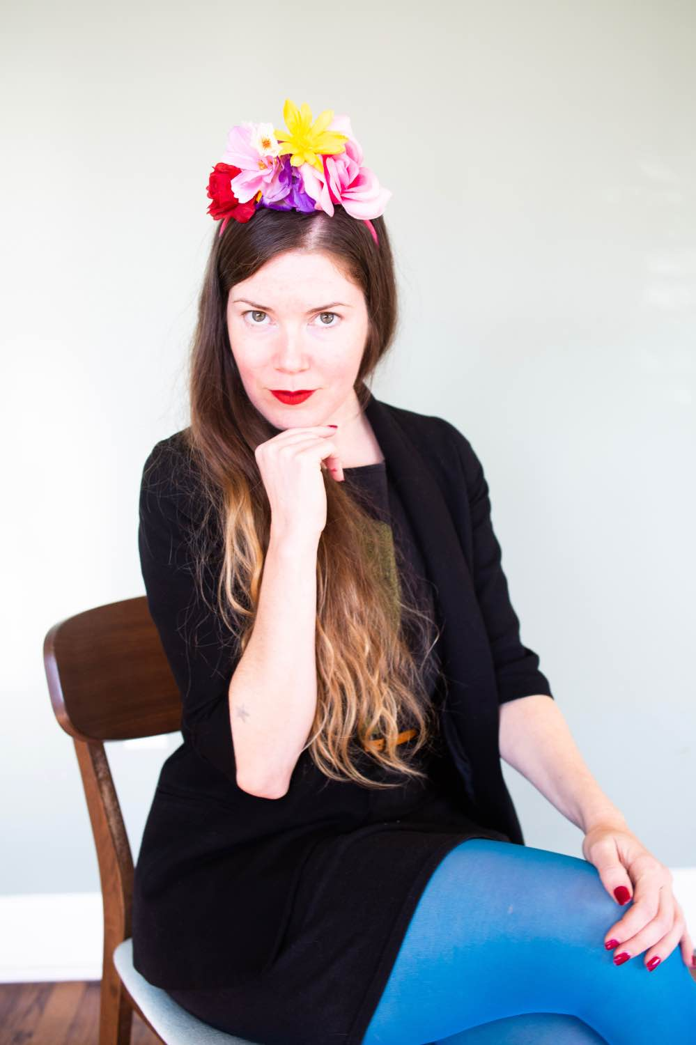 brittany bly wearing a handmade flower crown headband pop shop america