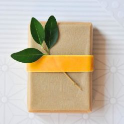 parchment and ribbon wrapped soap diy with leaves