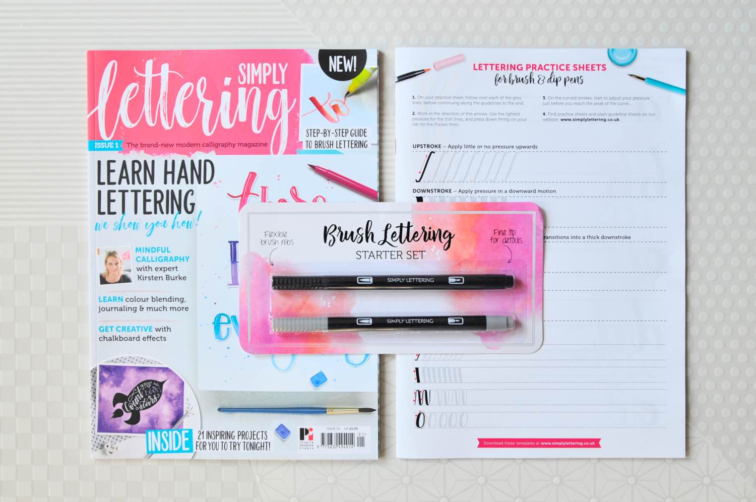 simply lettering magazine workbook and brush lettering pens