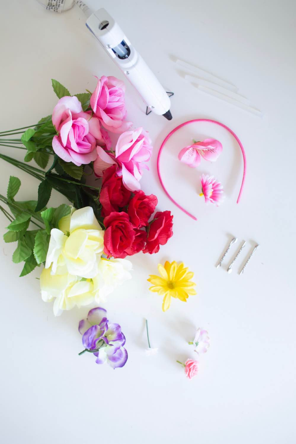supplies to make a diy flower crown headband