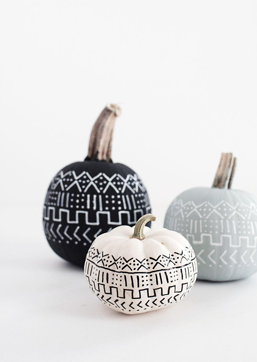 DIY-Painted-Mud-Cloth-Pumpkins-homeyohmy