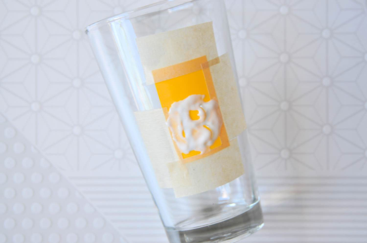 applying the second stencil glass etching tutorial