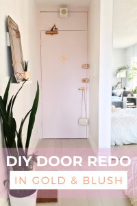 diy door upgrade with a midcentury starburst and blush paint