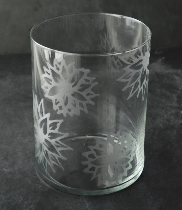 etched glass vase with flowers white lights on wednesday