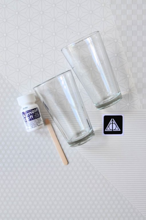 glass etched diy pint glasses with sticker stencils
