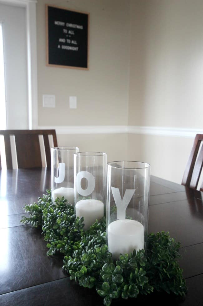 holiday glass etched joy centerpiece