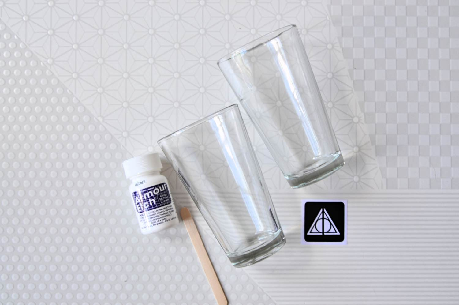 supplies to make deathly hallows glass etched pint glasses