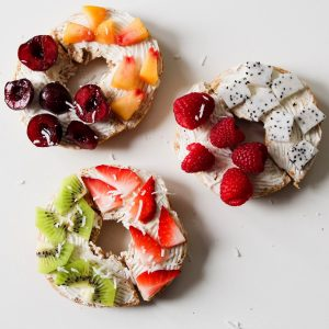 cherry kiwi peach and fruit topped bagels recipe pop shop america