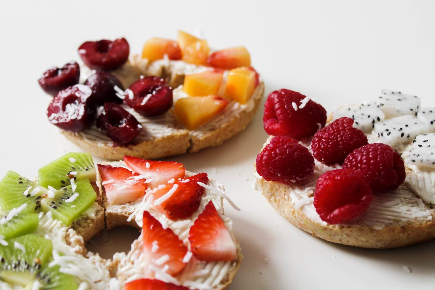 coconut close up easy rainbow fruit topped bagels