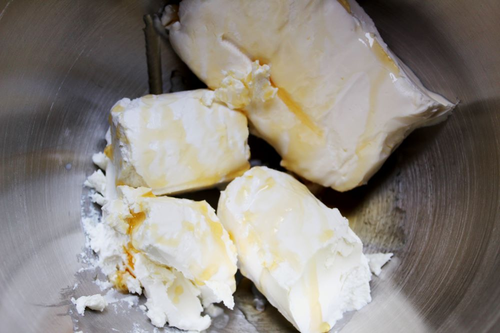 cream cheese and goat cheese in mixer 1