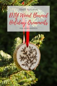 diy wood burned holiday ornaments
