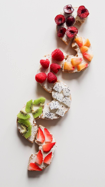 easy rainbow fruit topped bagel recipe
