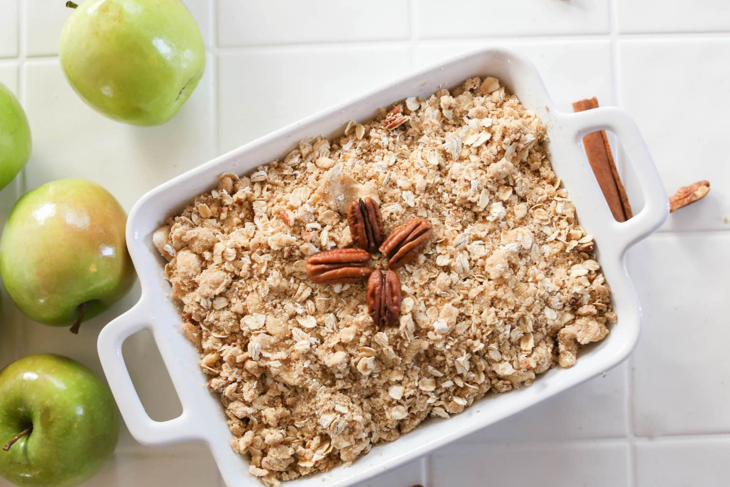 add the crumble topping and the pecans - apple crisp ready to bake