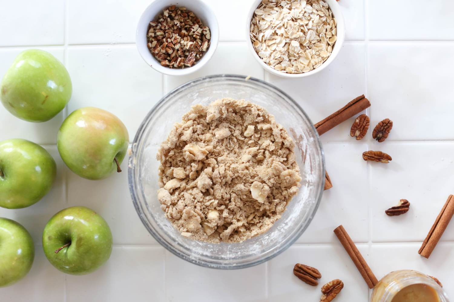 caramel apple crisp recipe butter added to topping