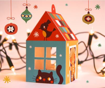 christmas house download print bora illustaties