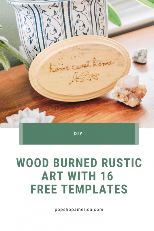 wood burned rustic art diy with 16 free templates