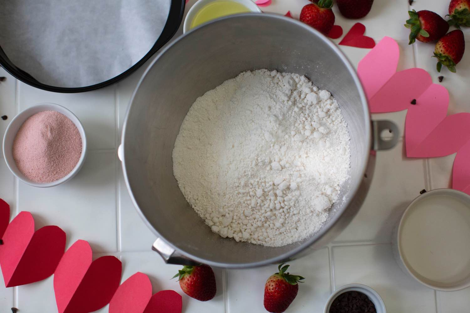 add the dry cake ingredients to a kitchen aid mixer