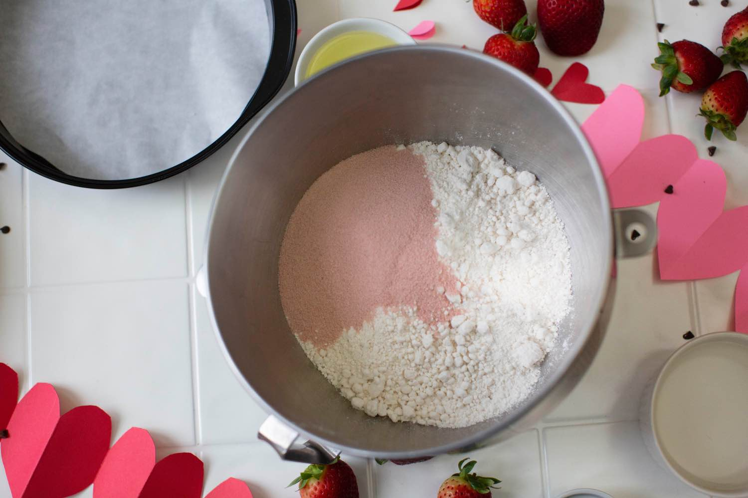 add the strawberry jello to the dry mix for strawberry cake