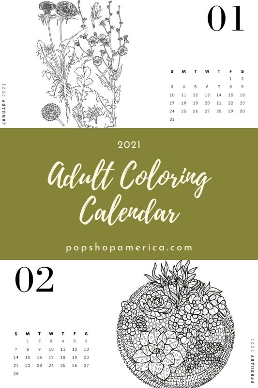 Free Adult Coloring Book Printable Calendar With Plants