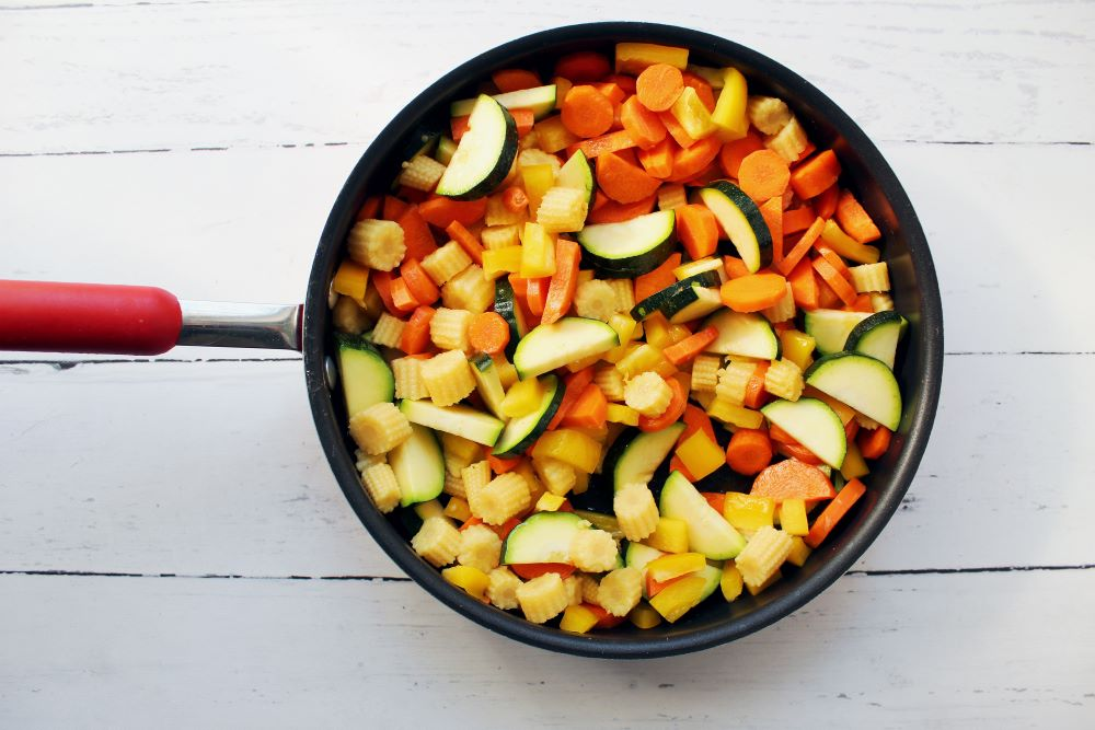 chopped veggies in skillet for turmeric chicken and rice 1