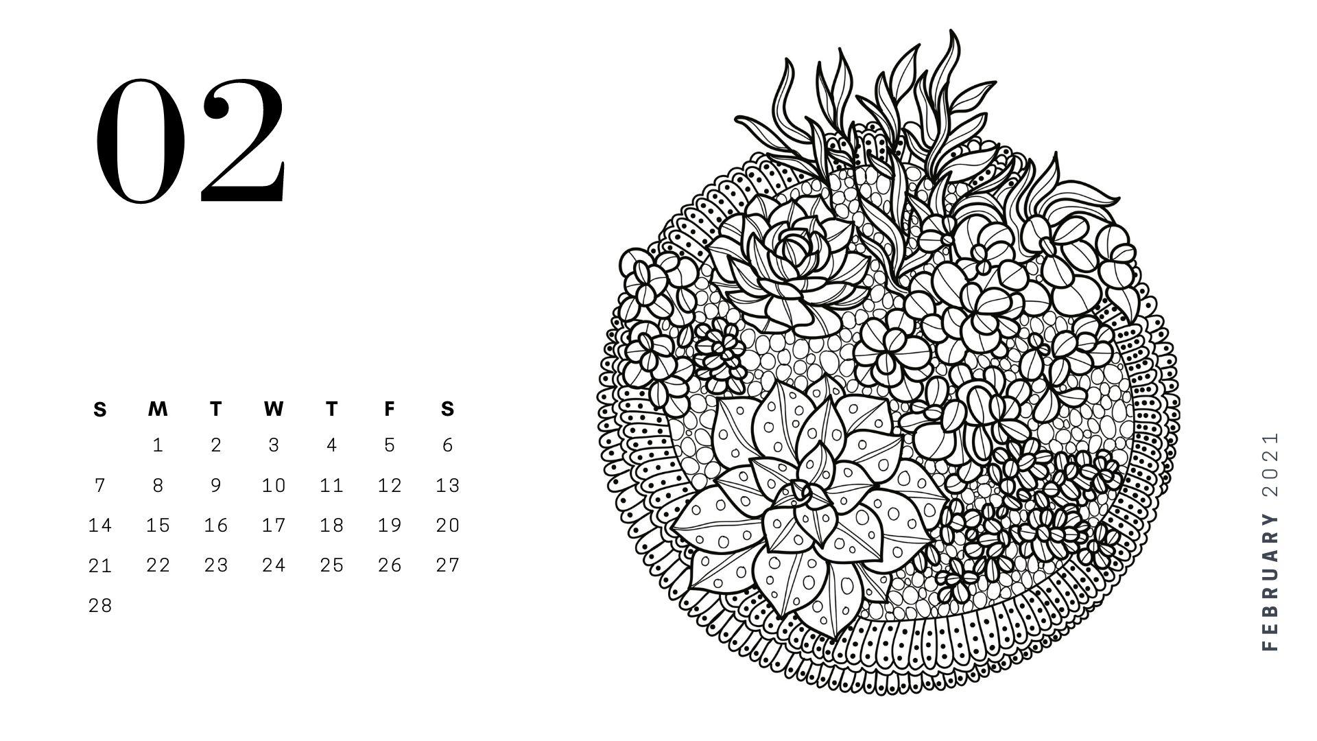 february 2021 adult coloring calendar