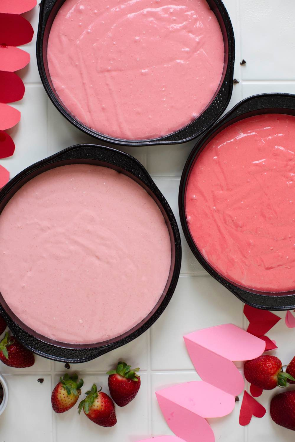 pink ombre strawberry cake color variation before baking